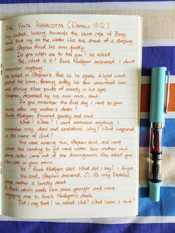 Writing sample of Vinta Terracotta ink on Midori MD paper