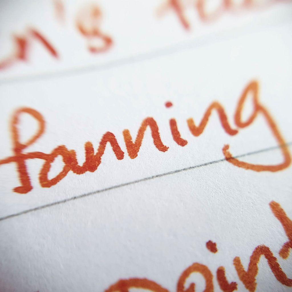 Writing sample of  Vinta Terracotta ink on Rhodia notebook