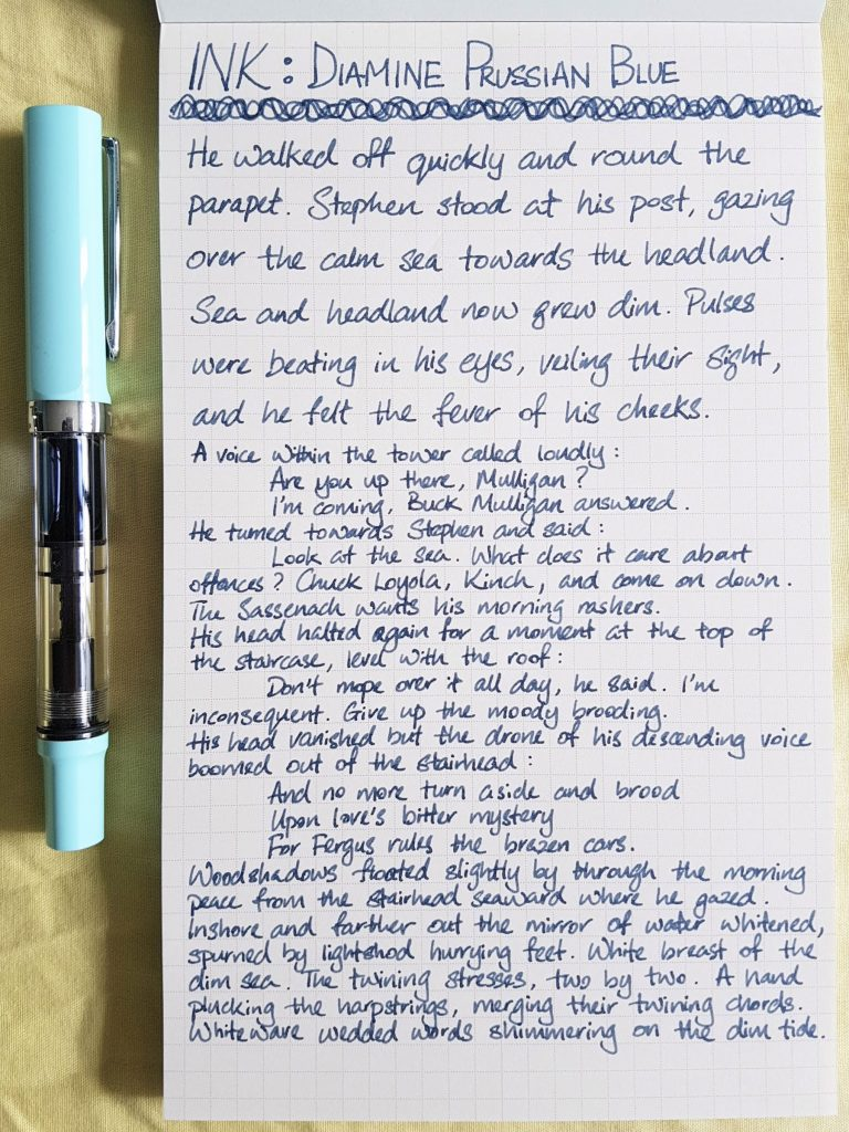 Writing sample of Diamine Prussian Blue ink on WORLD CRAFT Freiheit notepad