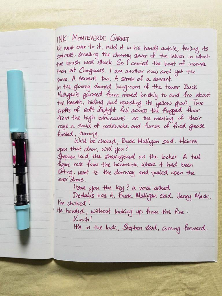 Writing sample of Monteverde Garnet ink on Midori MD notebook