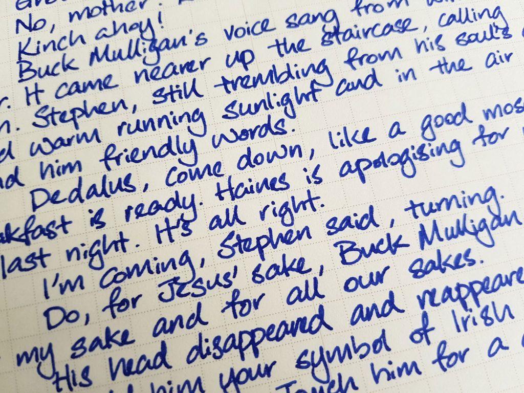Writing sample of Monteverde Sapphire ink on WORLD CRAFT Freiheit notepad
