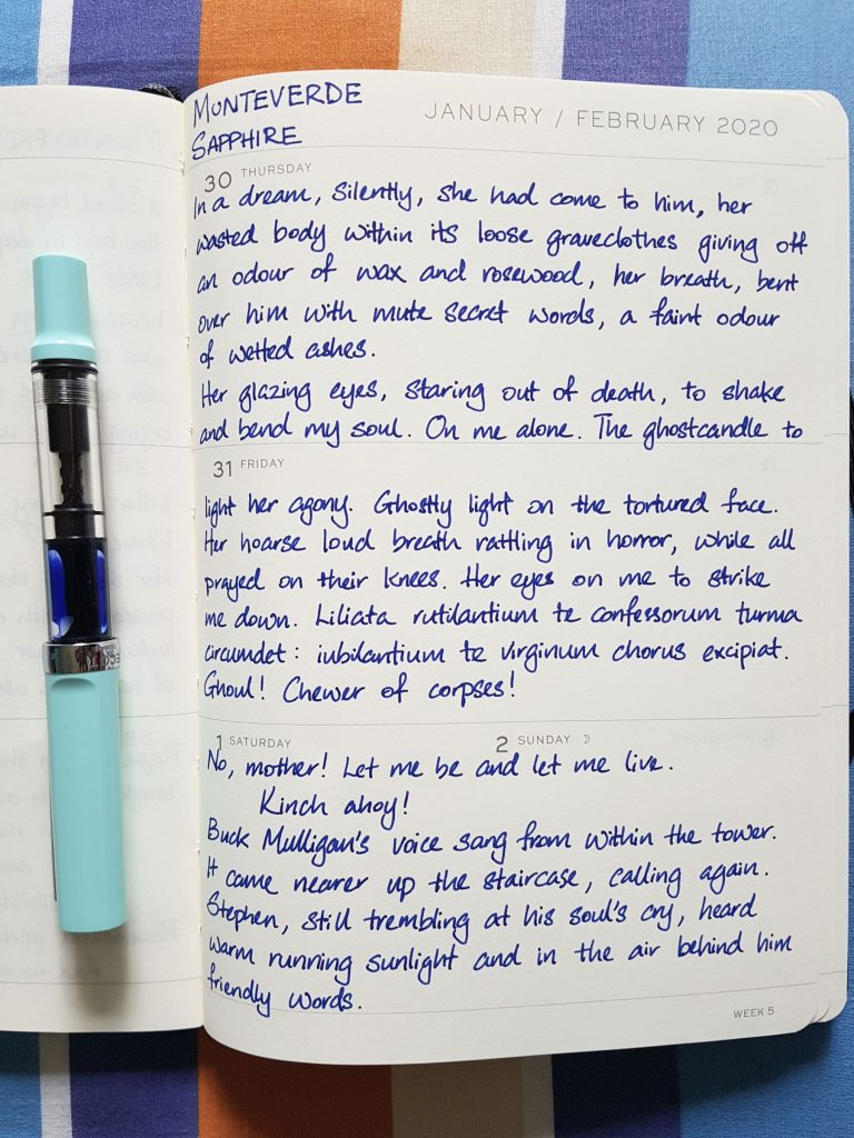 Writing sample of Monteverde Sapphire fountain pen ink on Leuchtturm 1917 planner