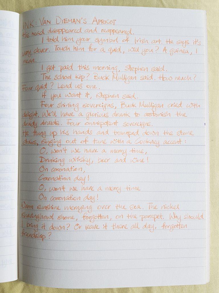 Writing sample of Van Dieman's Apricot ink on Midori MD notebook