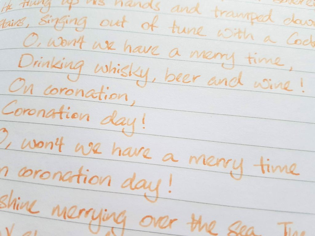 Writing sample of Van Dieman's Apricot ink on Rhodia notebook
