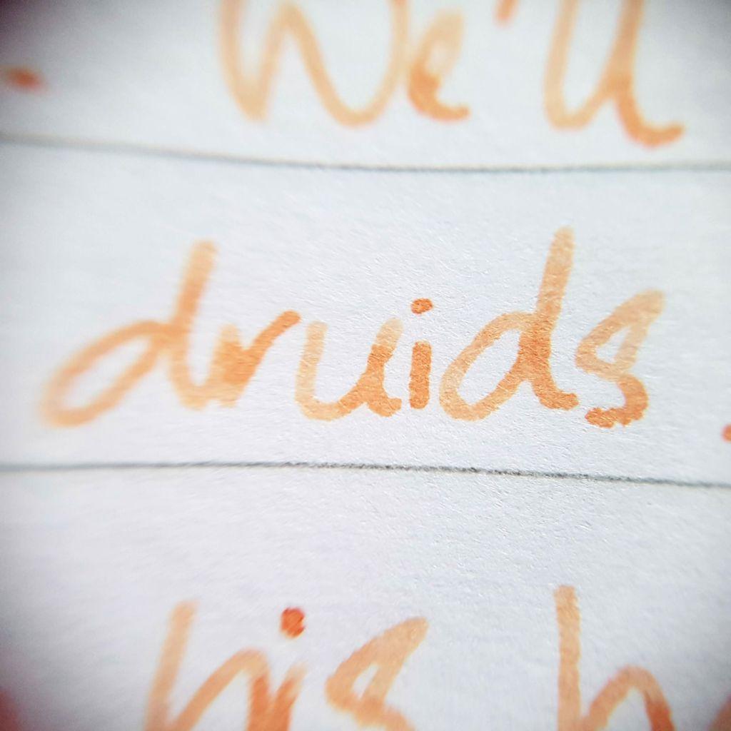 Writing sample of Van Dieman's Apricot ink on Rhodia notebook