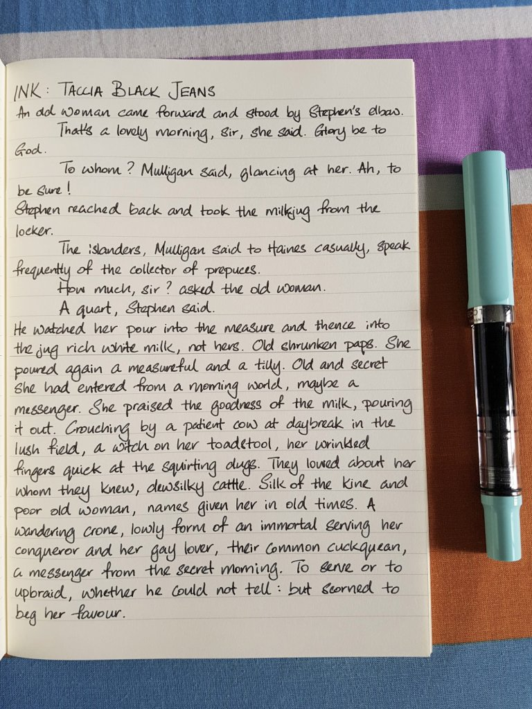 Writing sample of Taccia Black Jeans ink on Midori MD notebook