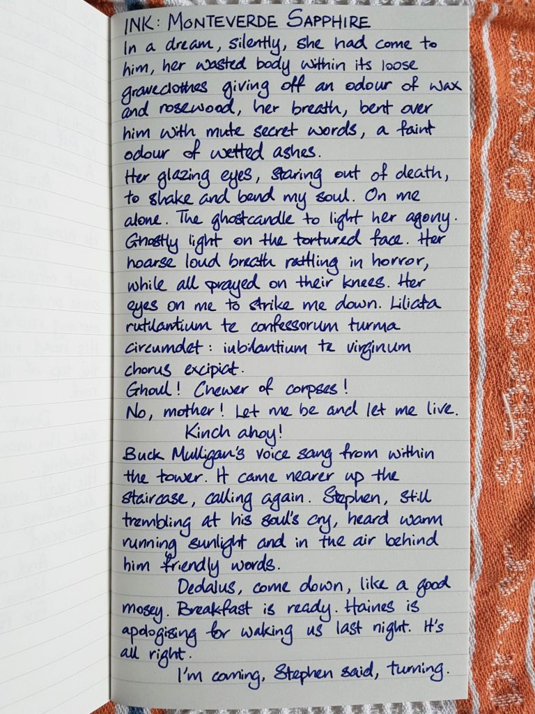 Writing sample of Monteverde Sapphire ink on Traveler's Company lined notebooked
