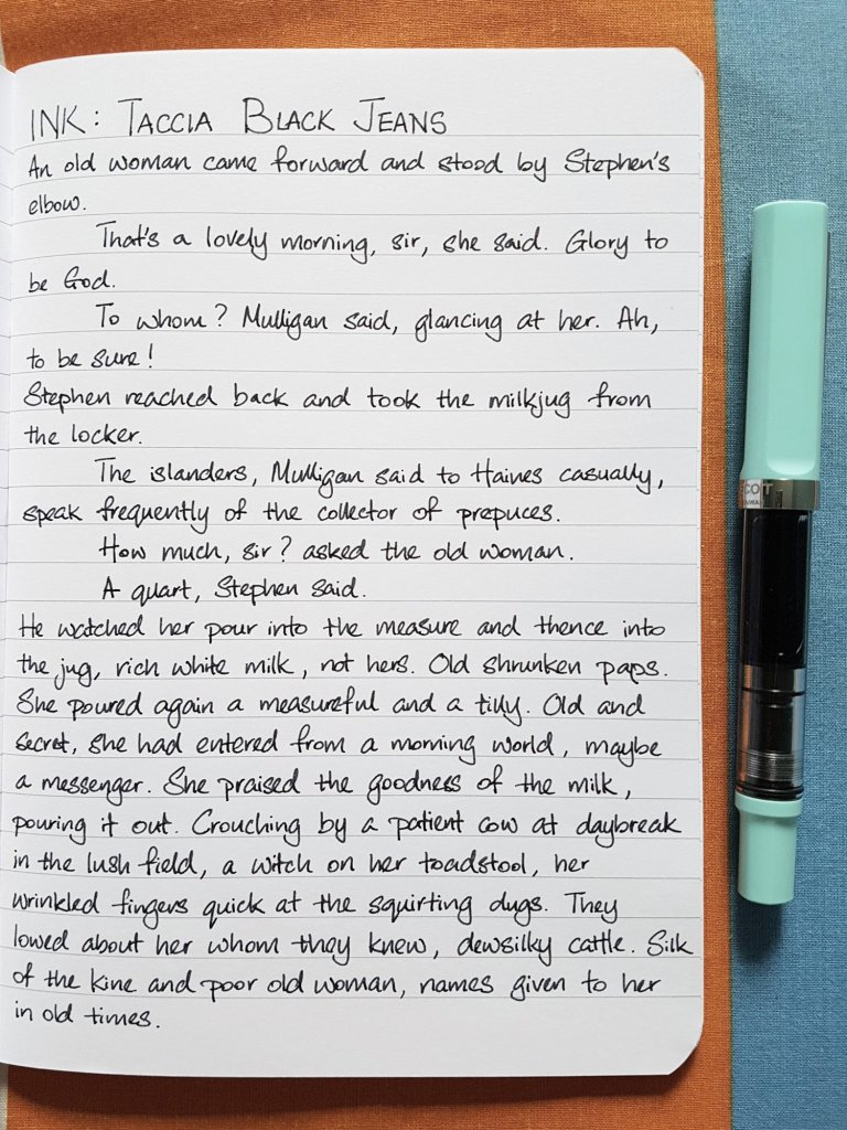 Writing sample of Taccia Black Jeans ink on Rhodia notebook