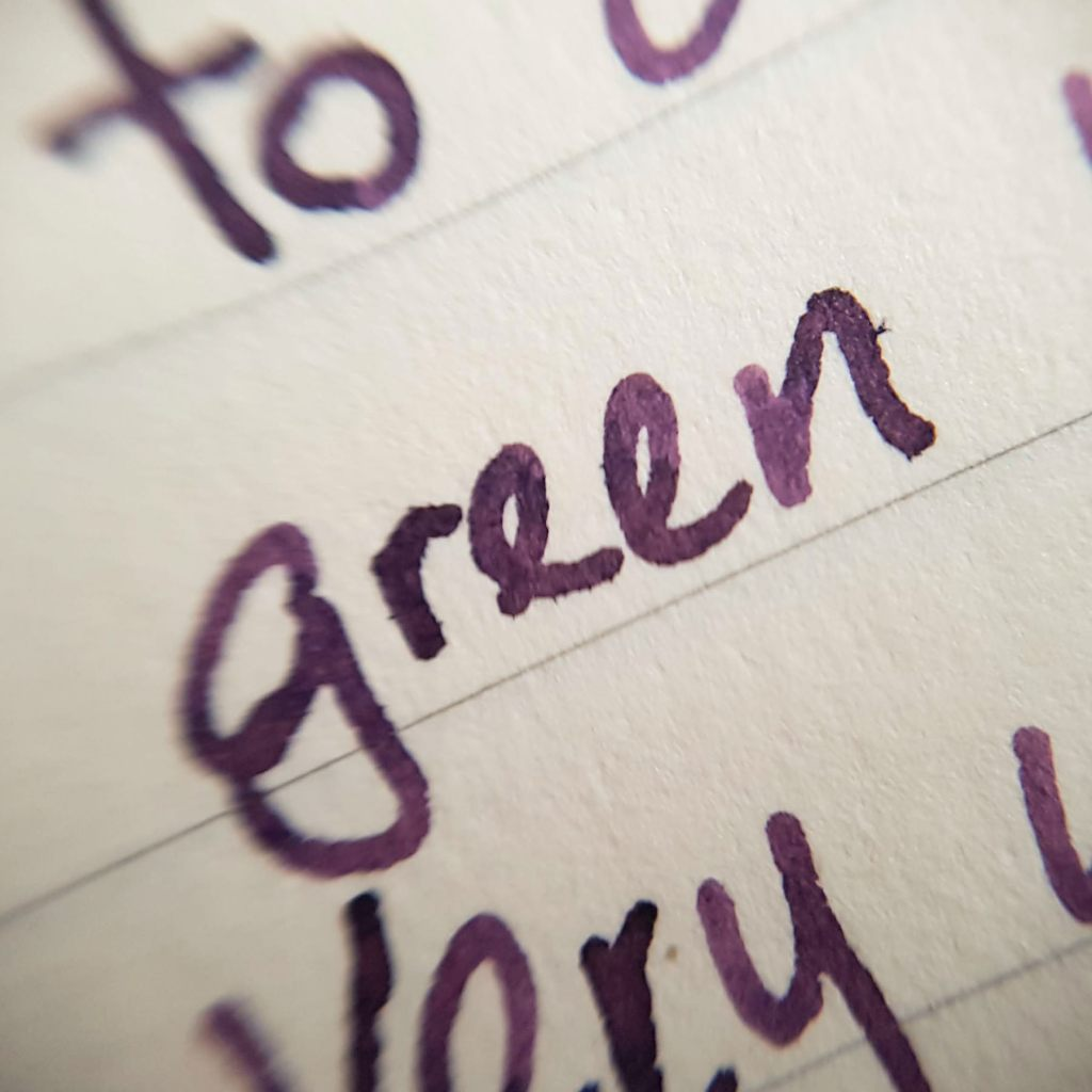 Writing sample of Birmingham Boysenberry fountain pen ink on Midori MD notebook