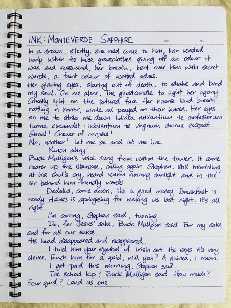 Writing sample of Monteverde Sapphire ink on Kokuyo Campus notebook