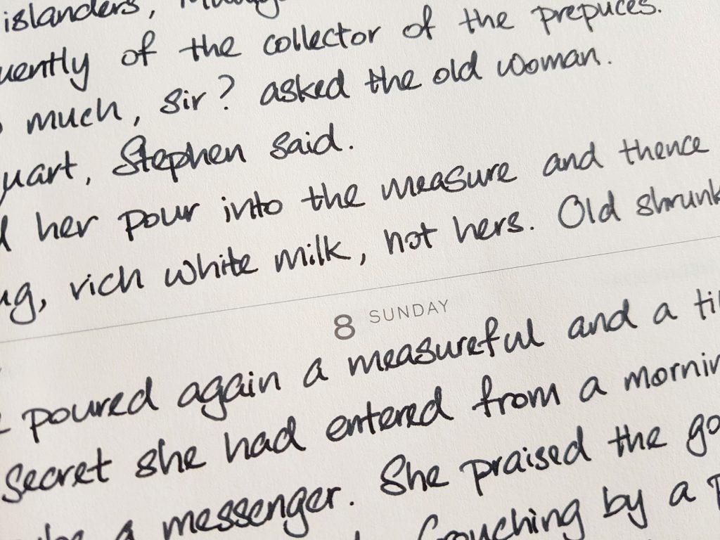 Writing sample of Taccia Black Jeans ink on Leuchtturm1917 planner