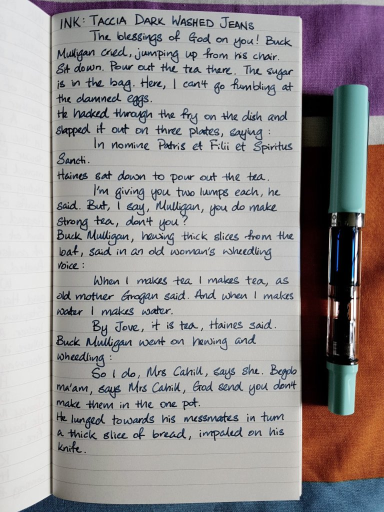 Writing sample of Taccia Dark Washed Jeans ink on Traveler's Company notebook