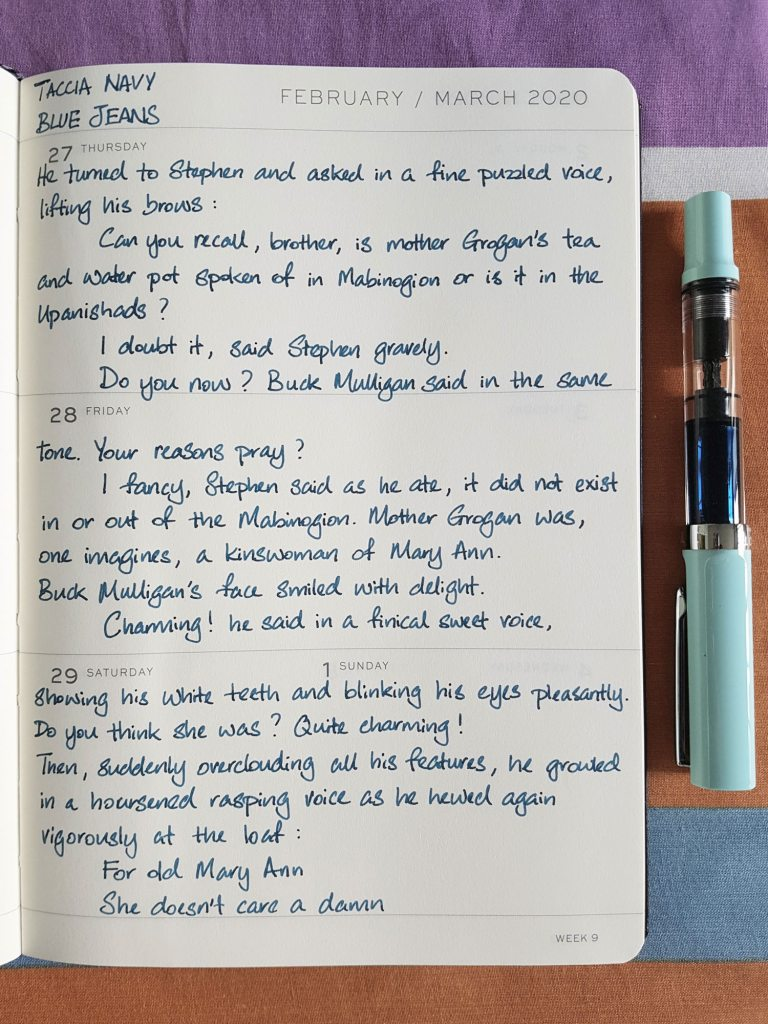Writing sample of Taccia Navy Blue Jeans ink on Leuchtturm1917