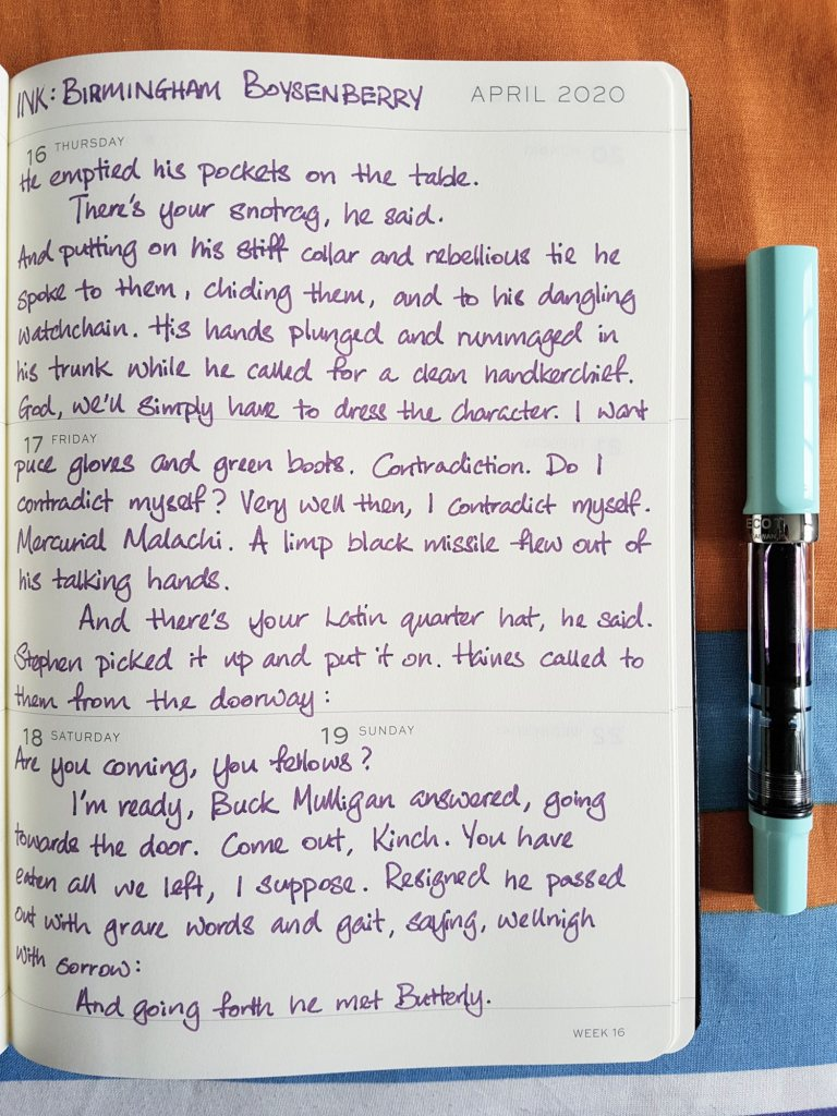 Writing sample of Birmingham Boysenberry ink on Leuchtturm1917 planner