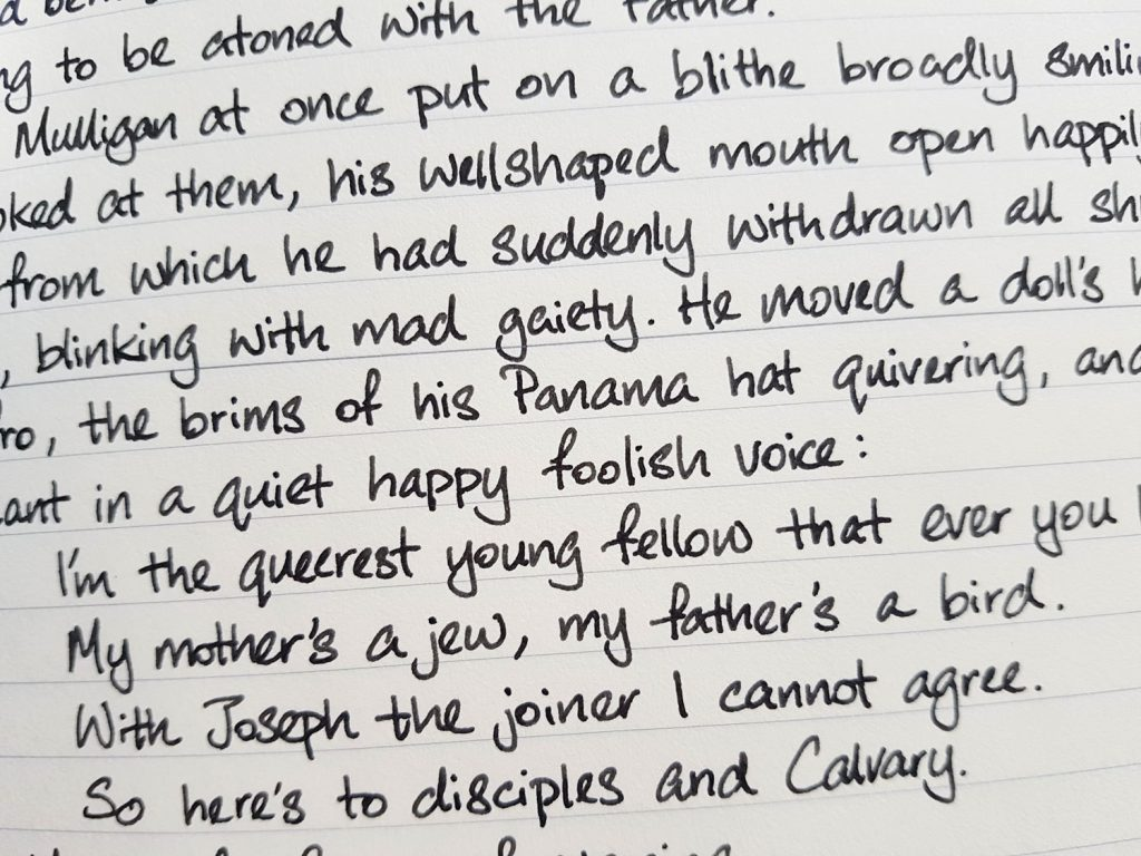 Writing sample of Birmingham Independence Grey ink on Midori MD notebook
