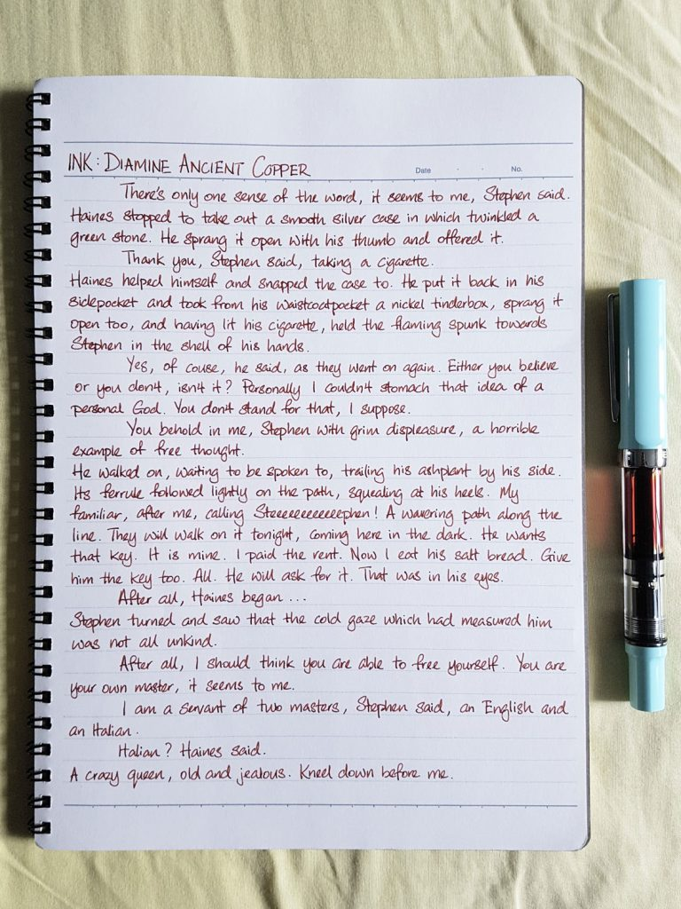 Writing sample of Diamine Ancient Copper ink on Kokuyo Campus notebook