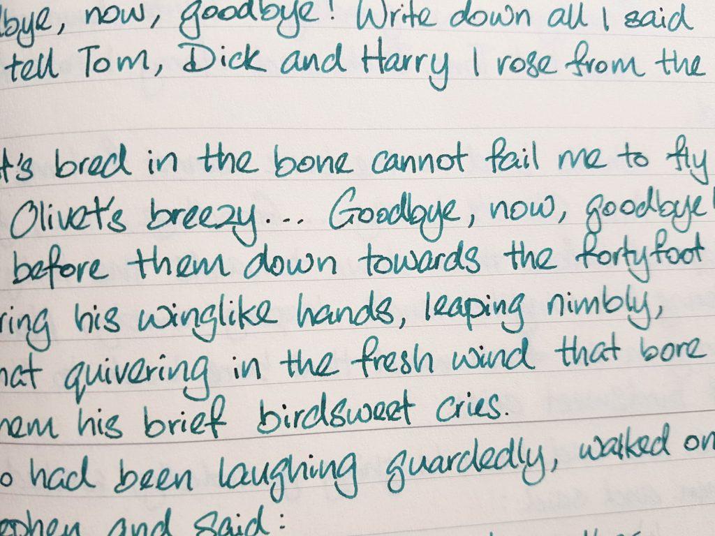 Writing sample of Diamine Aurora Borealis ink on Midori MD notebook