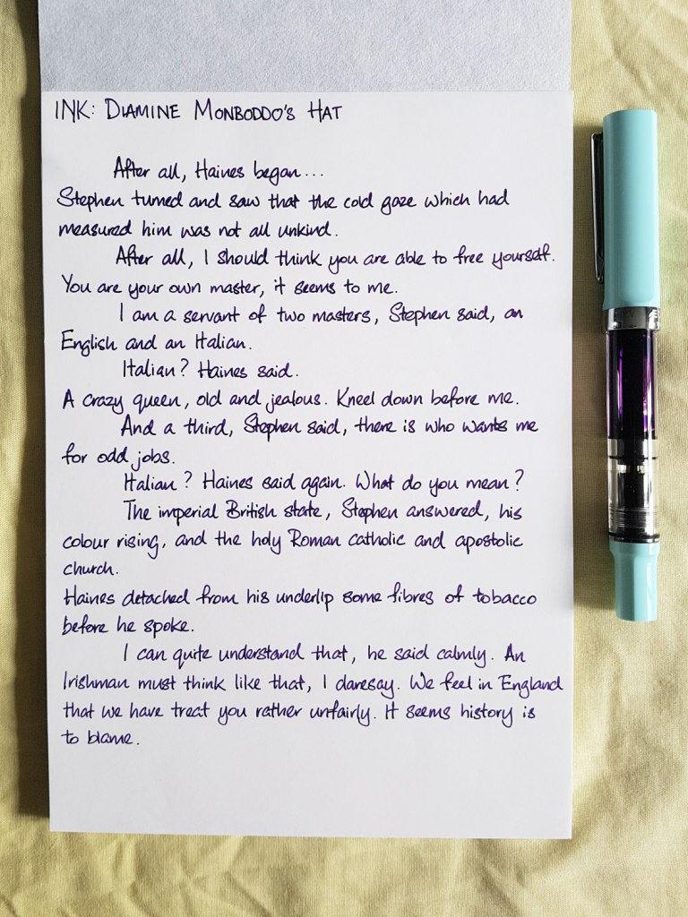 Writing sample of Diamine Monboddo's Hat ink on Tomoe River notepad