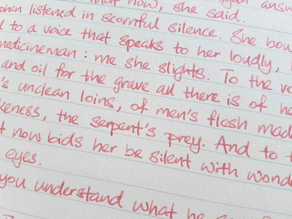Writing sample of Ferris Wheel Press Pink Eraser ink on Midori MD notebook
