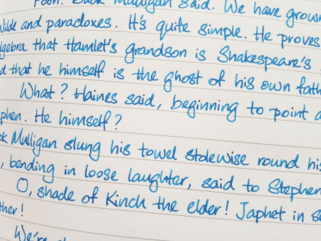 Writing sample of Pilot Iroshizuku Kon-Peki ink on Rhodia notebook