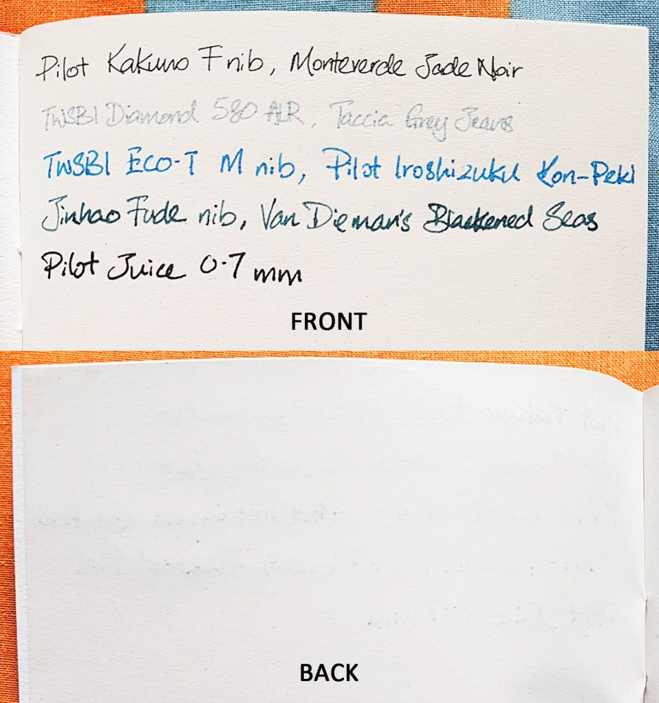 Comparison of writing with different pens on notebook paper