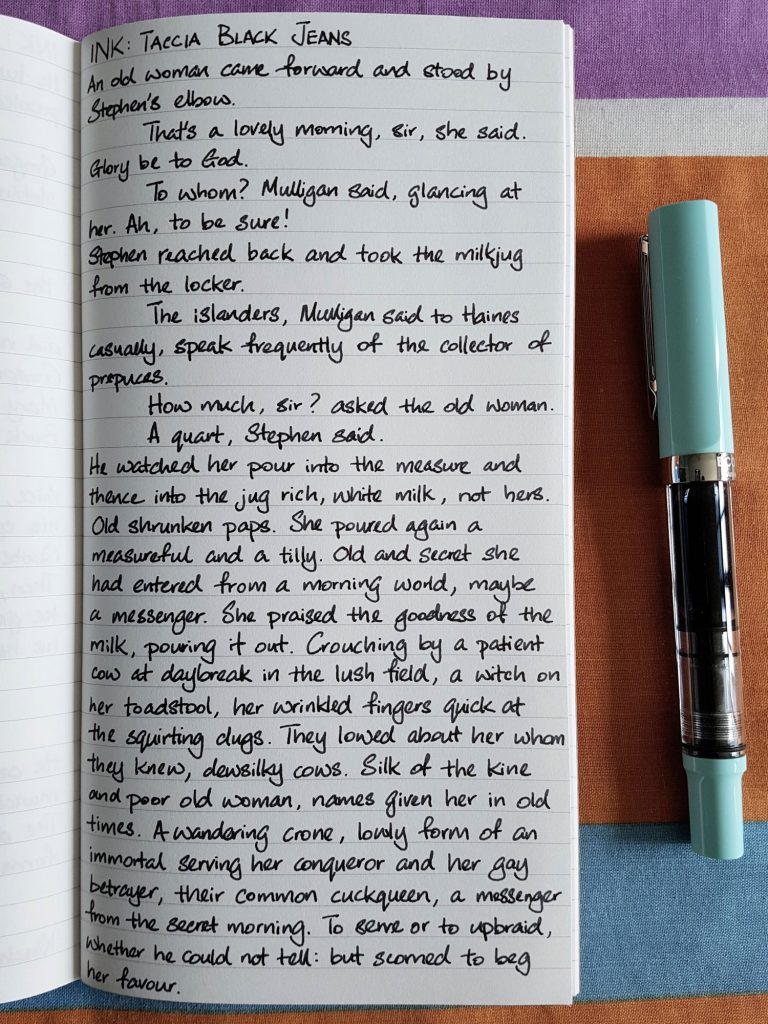 Writing sample of Taccia Black Jeans ink on Traveler's Company notebook