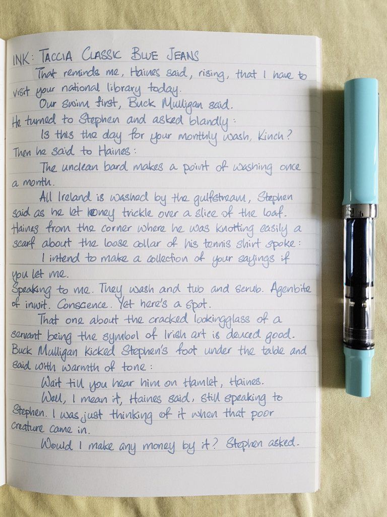 Writing sample of Taccia Classic Blue Jeans ink on Midori MD notebook