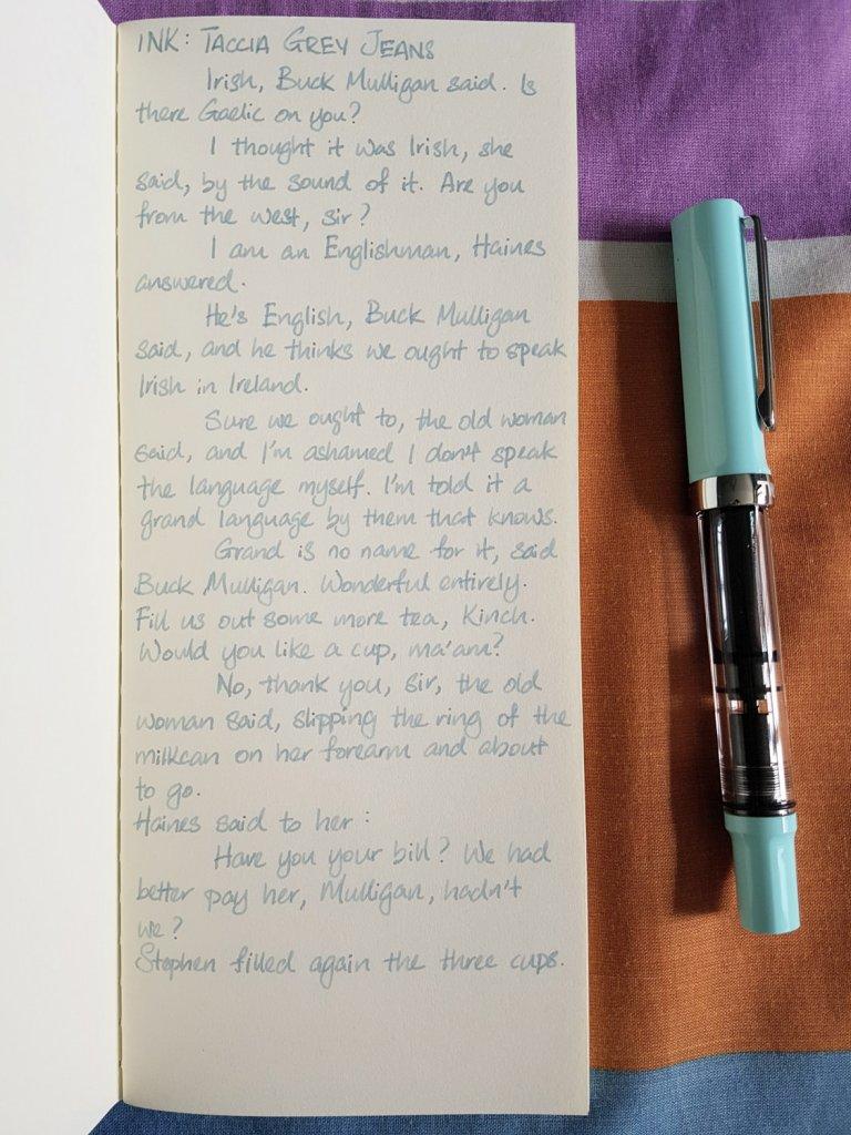 Writing sample of Taccia Grey Jeans ink on Yamamoto Ro-Biki notebook