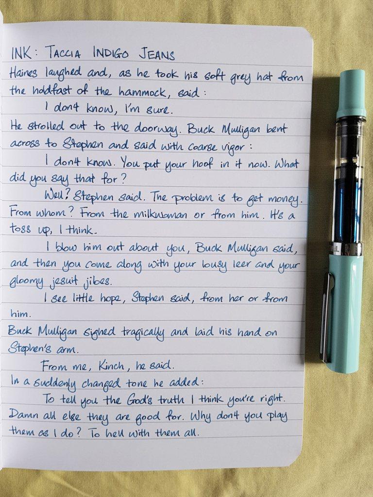 Writing sample of Taccia Indigo Jeans ink on Rhodia notebook