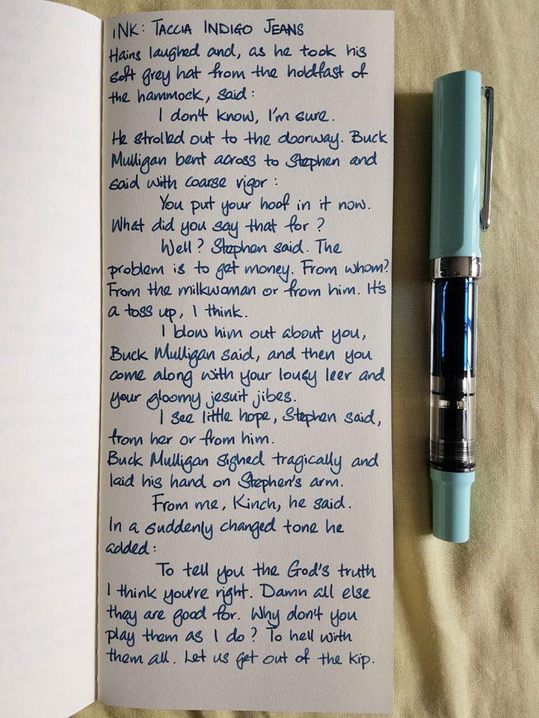 Writing sample of Taccia Indigo Jeans on Yamamoto Ro-Biki notebook