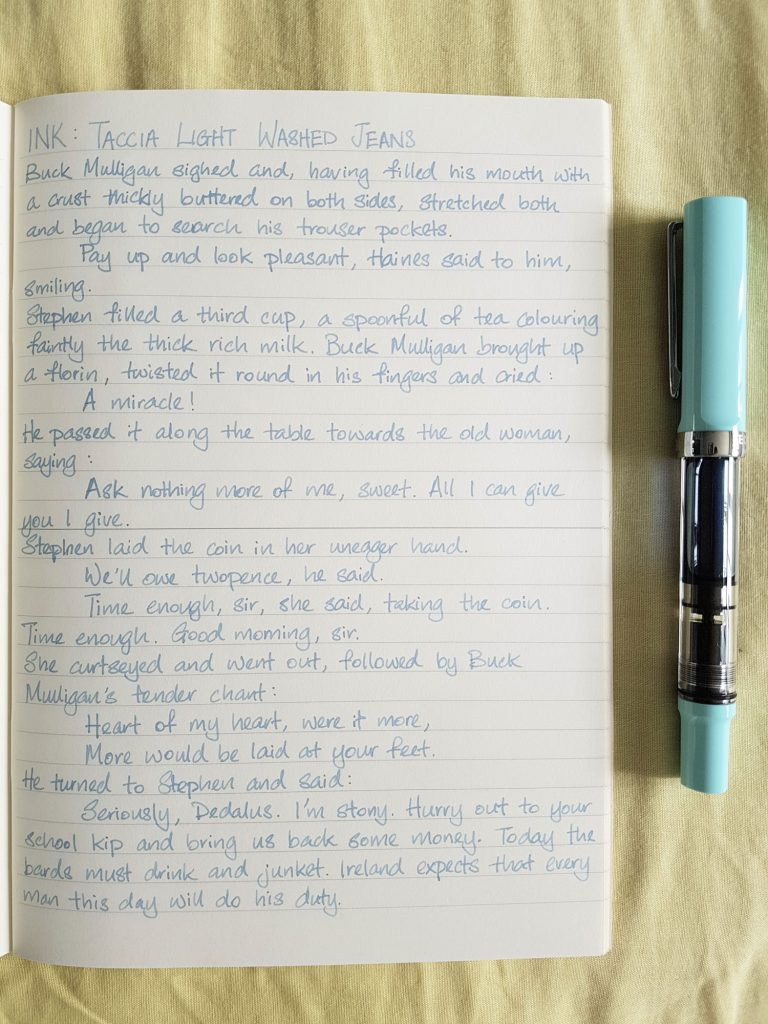 Writing sample of Taccia Light Washed Jeans ink on Midori MD notebook