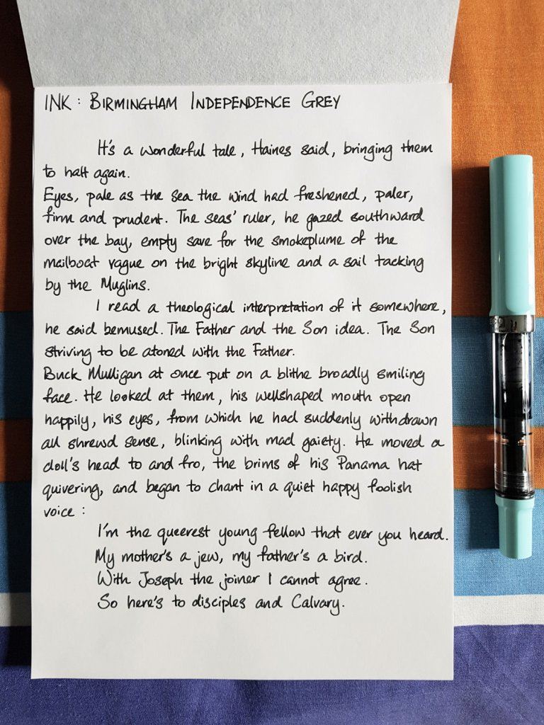 Writing sample of Birmingham Independence Grey ink on Tomoe River notepad