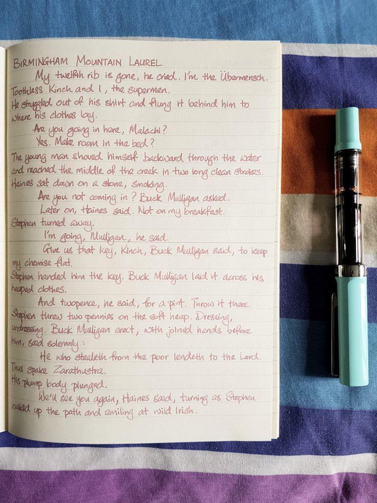 Writing sample of Birmingham Mountain Laurel ink on Midori MD notebook