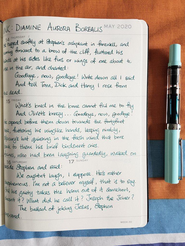 Writing sample of Diamine Aurora Borealis ink on Leuchtturm1917 planner