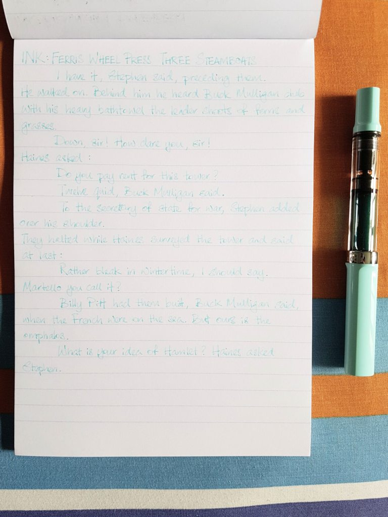Writing sample of Ferris Wheel Press Three Steamboats ink on Clairefontaine Triomphe notepad