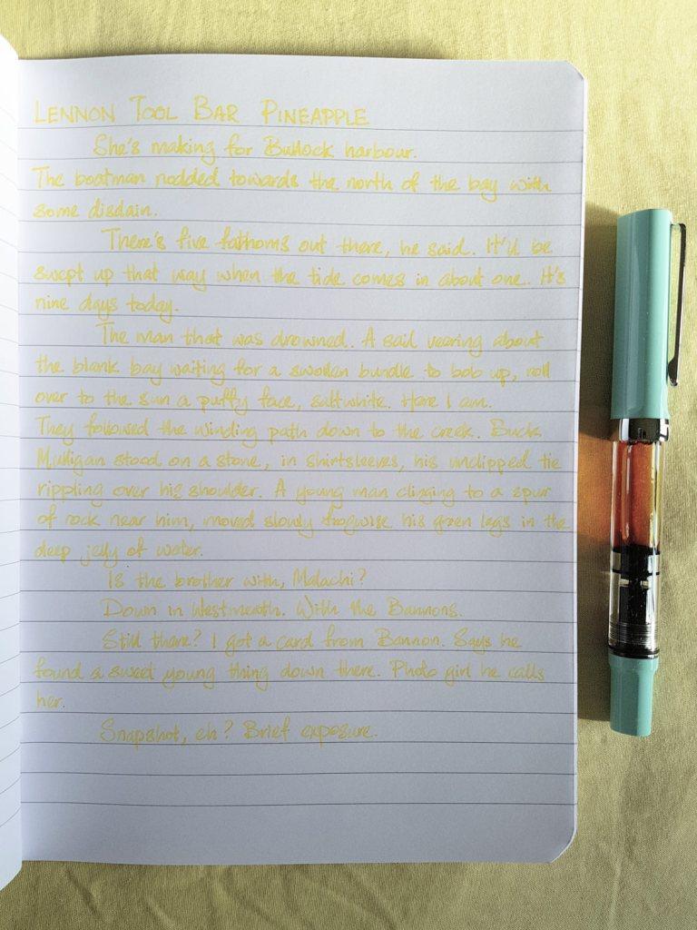 Writing sample of Lennon Tool Bar Pineapple ink on Rhodia notebook
