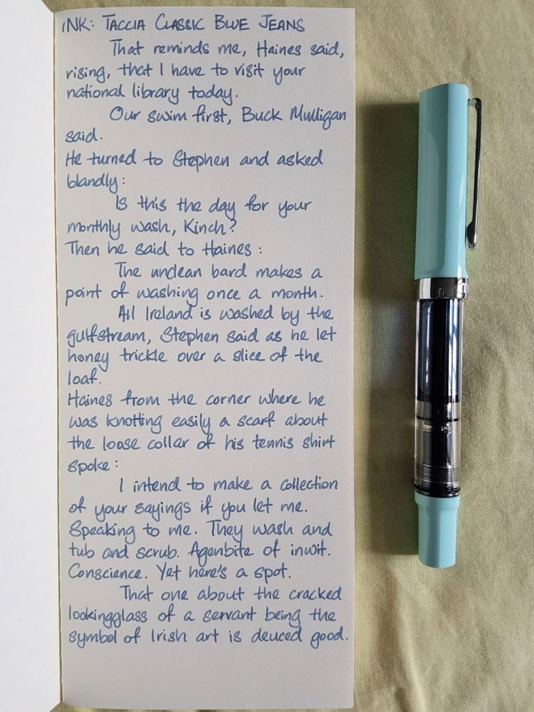 Writing sample of Taccia Classic Blue Jeans on Yamamoto Ro-Biki notebook