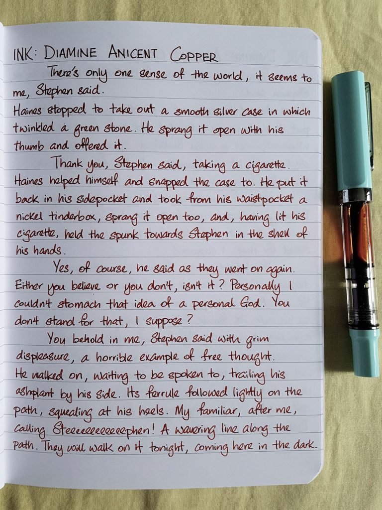 Writing sample of Diamine Ancient Copper ink on Rhodia notebook