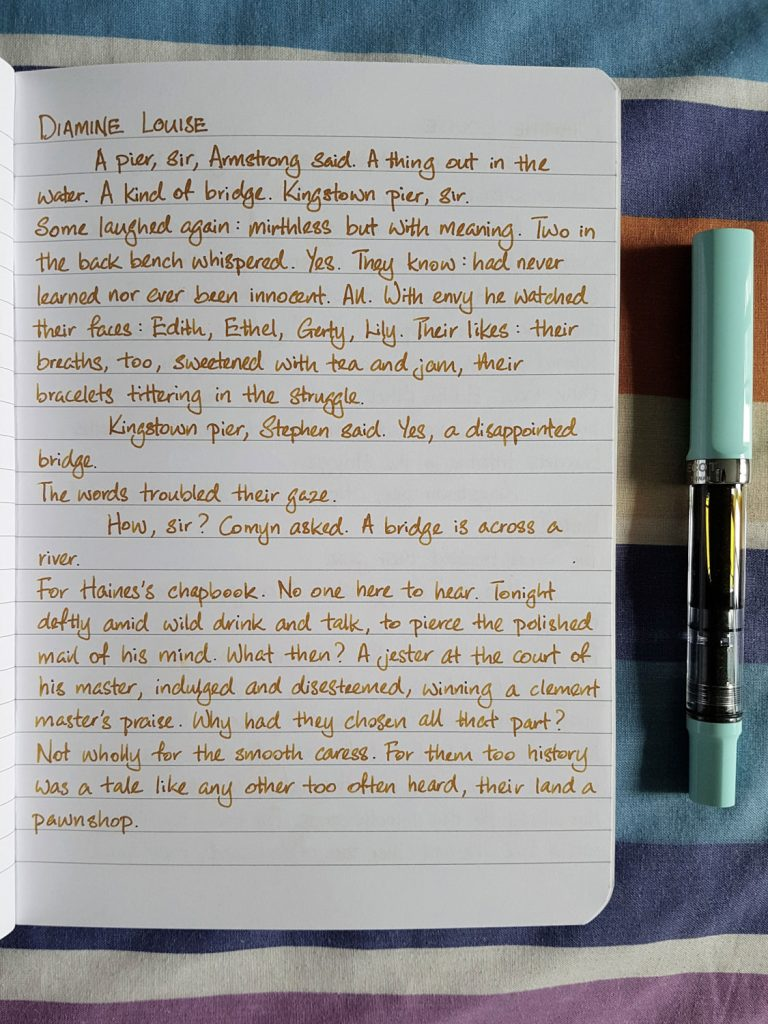 Writing sample of Diamine Louise on Rhodia notebook