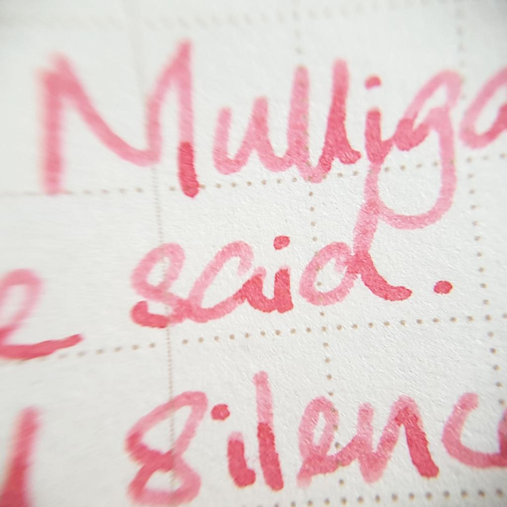 Writing sample of Ferris Wheel Press Pink Eraser ink on WORLD CRAFT Freiheit notepad