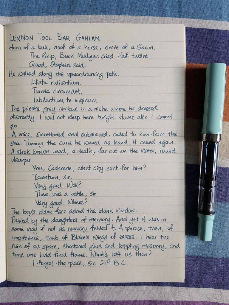 Writing sample of Lennon Tool Bar Ganlan ink on Midori MD notebook
