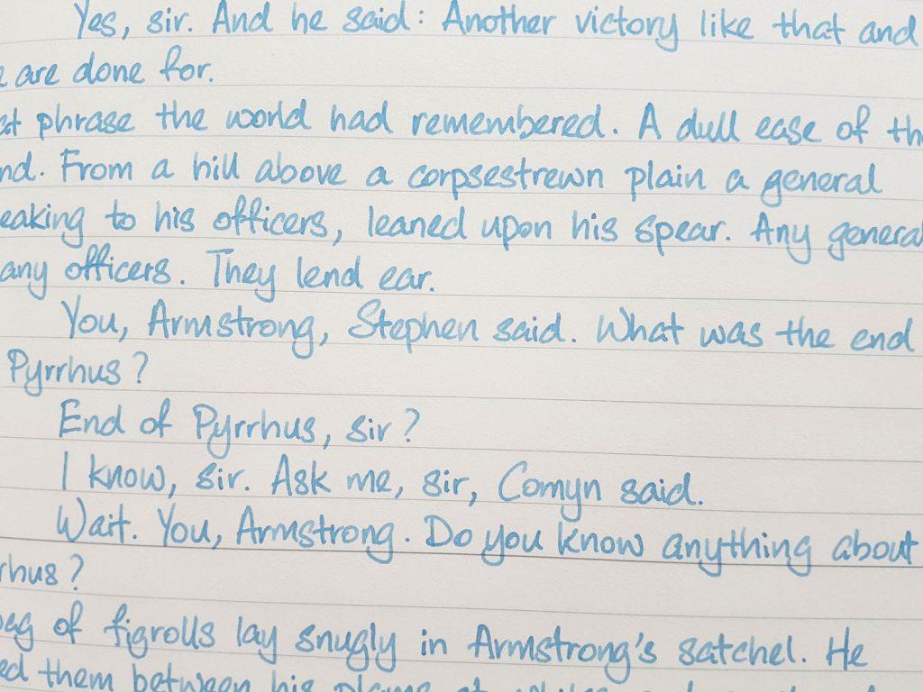 Writing sample of Lennon Tool Bar Nahu ink on Midori MD notebook