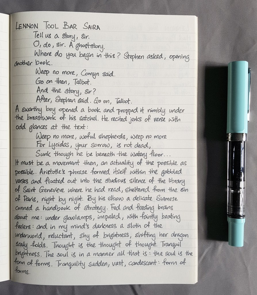 Writing sample of Lennon Tool Bar Saira ink on Midori MD notebook