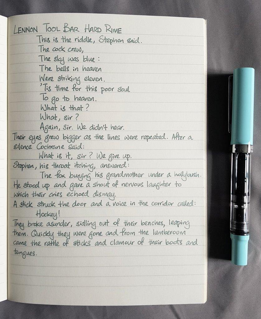 Writing sample of Lennon Tool Bar Hard Rime ink on Midori MD notebook